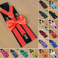 2018 Suspenders and Bow Tie Combo Set Mens Womens Braces Matching Formal Wedding