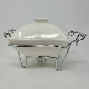 Godinger 1-Quart Covered Porcelain Baker with Chrome Plated Warmer Stand in Box