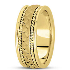 New Ladies 14k Yellow Gold Hand Woven Braid Style Wedding Band Ring 7mm Size 6