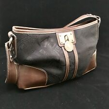 American Living Purse Handbag Black Canvass Brown Faux Leather Accents