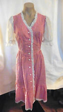 60s-70s Red & White Gingham Dress w/ Lace Trim and Flower Buttons