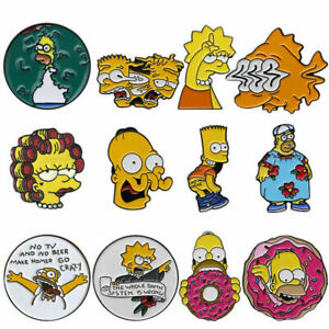Simpson Series Cartoon Character Brooch Funny Creative Badge Mermaid Enamel Pins