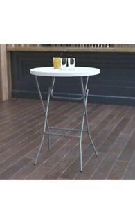 "Flash Furniture 32"" Round Plastic Bar - Granite White"