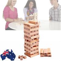 AU Ship! 54Pcs Wooden Tower Hardwood Building Blocks Toy Domino Jenga Game Toys
