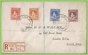 Nauru 1937 KGVI Coronation set on registered cover to England