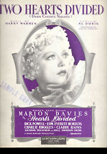 "HEARTS DIVIDED Sheet Music ""Two Hearts Divided"" Marion Davies"