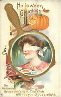Halloween Beautiful Woman Blindfolded Mirror Witch JOL Stecher 248F Postcard