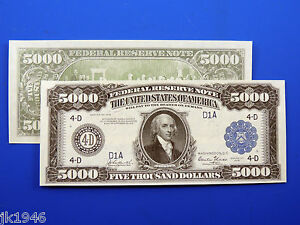 Reproduction $5,000 1918 Federal Reserve Note US Paper Money Currency Copy