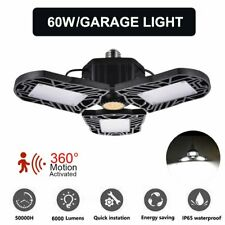 60W Led Deformable Radar Garage Light Motion Activated Ceiling Lamps E27 6000lm