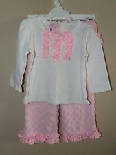 Mud Pie 2T 3T White Shirt Pink Minky Dot Pants Outfit Ruffle Bottom Long Sleeve