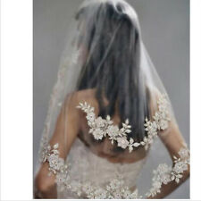 Wedding Bridal Lace Double layer Veil Drop with Hair Comb Flower Veil White