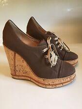 NWB CHLOE  OLONA $705 Lace Up Wedge Cork heel size 8 1/2