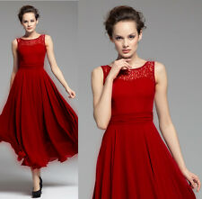 Red long maxi formal billowing Skirt Evening Cocktail Party Dress plus Size 20