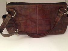 Fossil Brown Crocodile Print Satchel Bag with Double Straps Purse 13 x 7 x 4