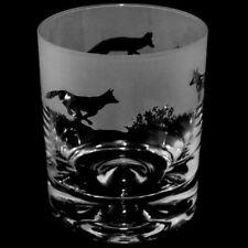 Animo Glass - SANDBLASTED FRIEZE WHISKY WHISKEY TUMBLER GLASS - Fox