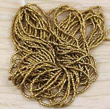 10/0 2 CUT SILKY METALLIC BRASS /AZTEC GOLD CZECH SEED BEADS -  1 HANK  - 12/20""