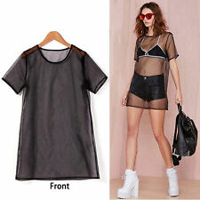 Sexy Womens Mesh See Through Long Top Mini Dress Short Sleeves Round Neck SMALL