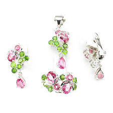 Silver 925 Pink Topaz & Chrome Diopside Pendant, Earring & Ring Set Sz N.5 US 7