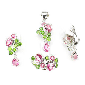 Pendant Earring Ring Genuine Pink Topaz Green Chrome Diopside Sterling Silver