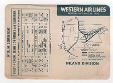 1950 WESTERN AIRLINES Inland SCHEDULE Denver GREAT FALLS Edmonton MINNEAPOLIS MN