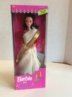 BARBIE IN INDIA- IVORY, RED , GOLD DRESS - BRUNETTE HAIR - ORIGINAL BOX UNOPENED