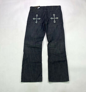 Helix Boot Cut Mens Size 34 X 30 Dark Resin Cross Denim Wash Jeans