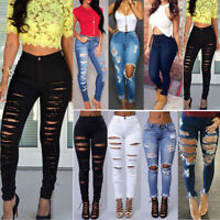 Women Ripped Destroyed Denim Pants Lady Celeb Stretchy Skinny Jeans Trousers