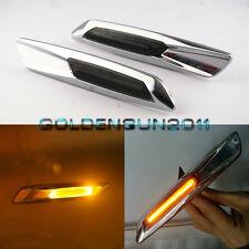 Amber LED Side Marker Lights For BMW E60 E87 E88 E90 E91 Smoked Lens Chrome Trim