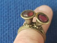 Very unusual very old silver ring with inserts. Please read description. L54i