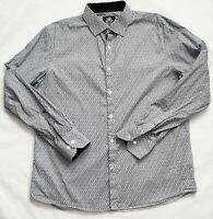 English Laundry Mens Large LS Flip Cuff Black White Floral Button Shirt New