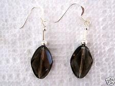 "Brown Smokey Quartz Dangle Earrings Sterling Silver .925 1.75"" Long 16.43 carats"