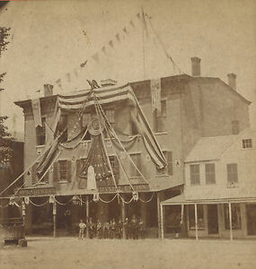 ANTIQUE GAR POST 19 FITCHBURG MA AMERICAN FLAGS MILLINERY SIGN PHOTO STEREOVIEW