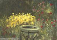 """Sunny Garden Birdbath"" Debra Sepos original oil 5"" x 7"" coreopsis coneflower"