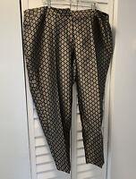 Talbots Woman Heritage Fit Floral Jacquard Ankle Pants Plus Size 22W NWT