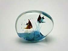 """Signed  Murano Two Angel Fish Large Shell And Bubbles Aquarium 3"""" x 4"""" Excellent"""