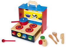 Legler jouet en bois Mobile Cuisine Cuisinière Valise Set pot bouteilles Couvercle Ustensiles