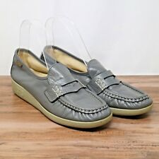 SAS Tripad Comfort Womens Gray Classic Moc Penny Leather Loafer Shoes Sz 7.5N