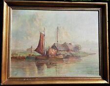 Adolf Hasenkamp Bild Öl signiert Segelschiff Landschaft Schiff Gemälde