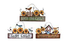 "Metal Plaque 18.5""X11""Sunflower Bird Plaque Garden Decor"