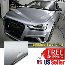"""60""""x60"""" Premium Silver Brushed Aluminum Metal Vinyl Wrap Sticker Decal Film"""