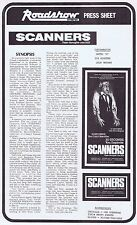 SCANNERS Original Vintage Australian Movie Press Sheet Horror