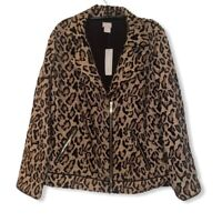 Chicos Womens Jacquard Moto Jacket Brown Animal Print Zip Up Pockets Size 1 Med