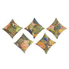5 PCs Indian Paisley Designer Pillow Cases Handmade Sofa Car Cushion Cover Set