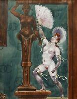 PESCHEUX dessin aquarelle érotique tableau curiosa femme nue maison close Paris