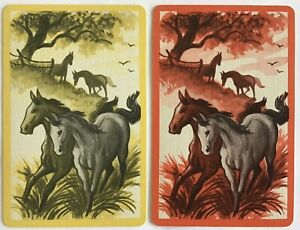 Vintage Swap Playing Cards- BEAUTIFUL HORSES. LINEN. EXCELLENT Condition