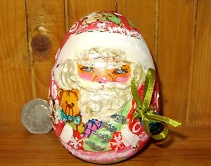 Wobbly doll Wood Bell Ring Roly Poly Russian Christmas Santa Father Frost EGG