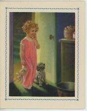 VINTAGE CUTE GIRL CURLS PJ'S BUNNY RABBIT SHEEP DOG COOKIE JAR CARD ART  PRINT
