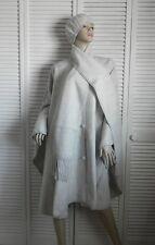 New Womens SZ L Light Gray Alpaca Wool Cloak Cape Ethnic Poncho Scarf Beret Hat