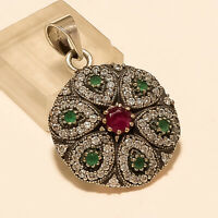 Natural Ruby Emerald Flower Pendant 925 Sterling Silver Wedding Turkish Jewelry