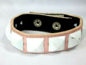 Nos Famous Stars And Straps Pink Leather Wristband Bracelet White Pyramid Studs